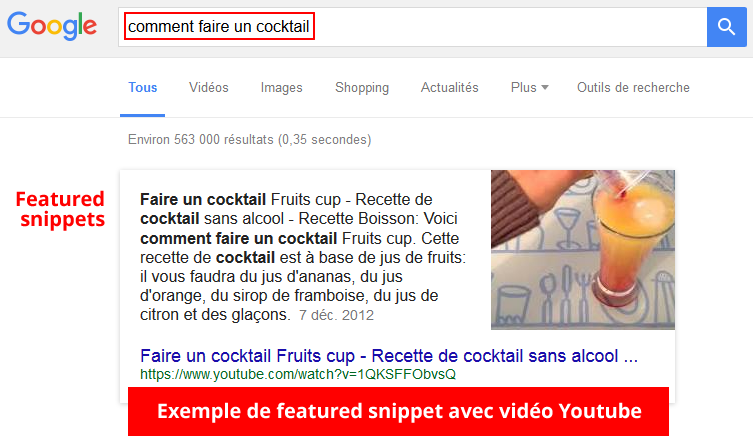 featured snippets avec vidéo Youtube