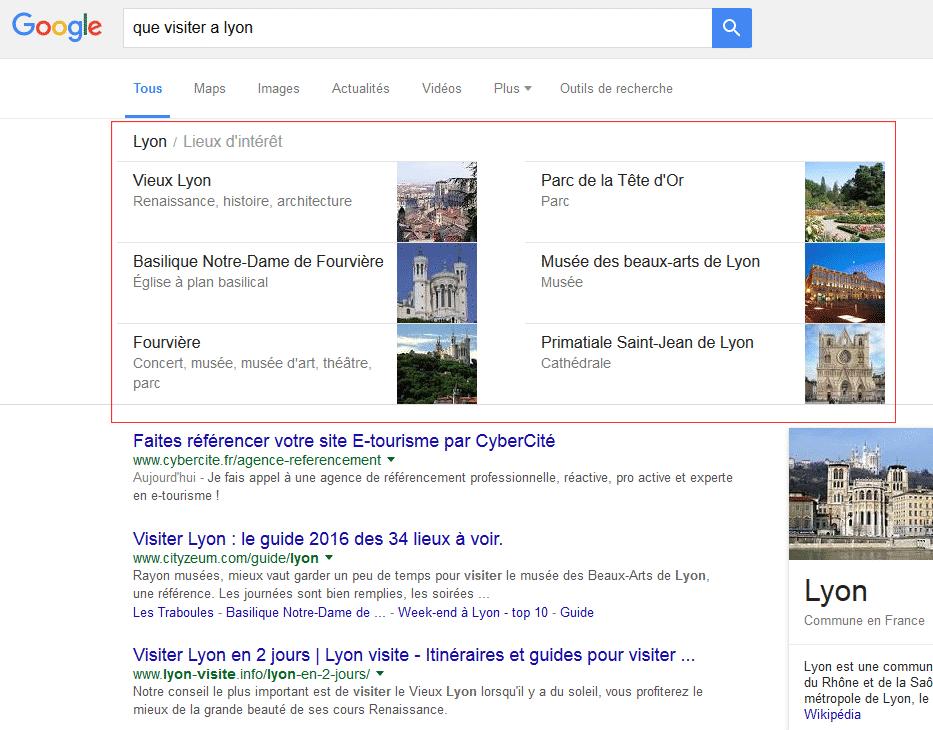 """Les """"Lieux d'intérêt"""" ont une place prépondérante dans les résultats de Google"""