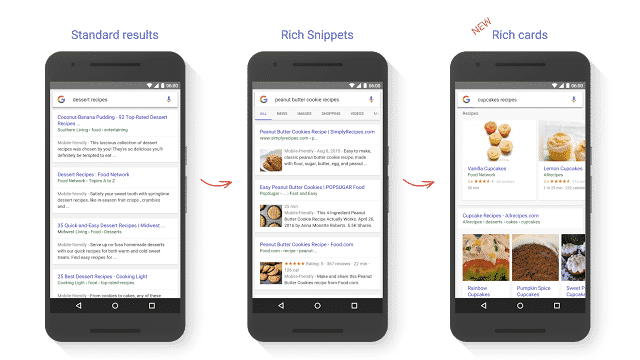 Rich cards versus rich snippets sur Google