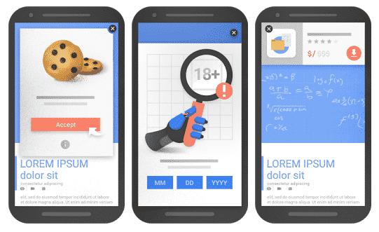 3 exemples d'interstitiels recommandés pour Google mobile