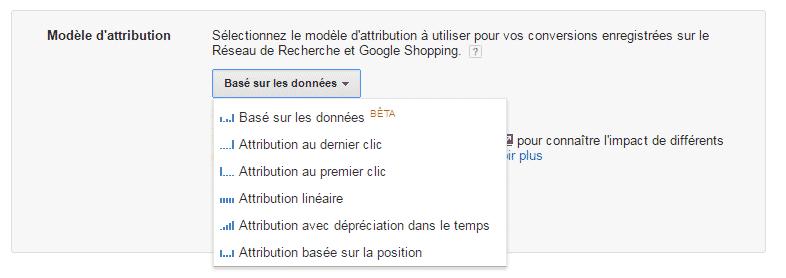 Choix du modèle d'attribution Adwords