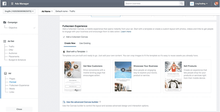 Interface de l'Ads Manager Facebook