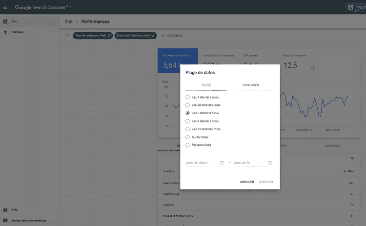 rapport performances search console beta