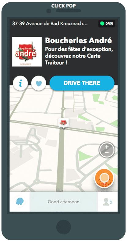 Exemple de pin sponsorisé sur Waze