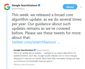 La communication de Google sur sa core update florida-2 sur twitter