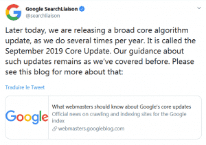 "Communication google sur la ""september 2019 core update"""