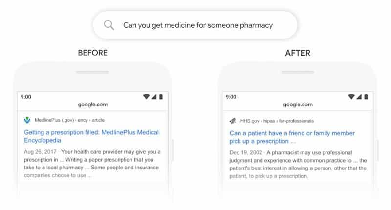 Exemple de modification des résultats avec et sans Google BERT