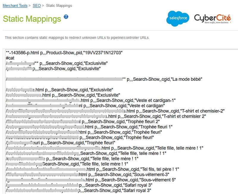 redirections d'URL SEO sur SalesForce Commerce Cloud