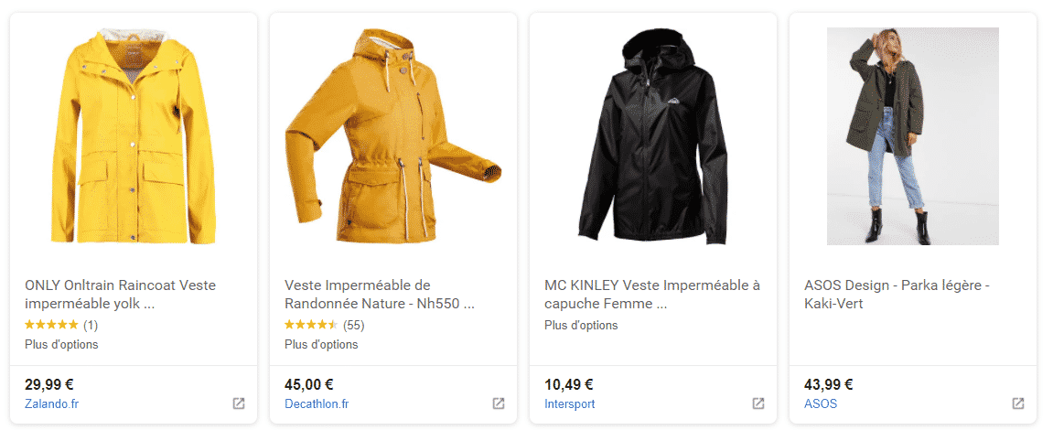 resultat google shopping